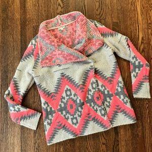 wishlist Tribal Boho Cardigan Hot Pink Grey